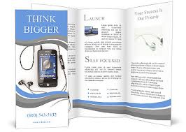 mobile phone with headphones on white background 3d brochure