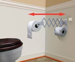 accordion style toilet roll holder lets you bring the paper closer