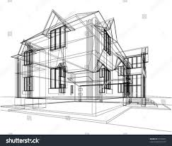 abstract sketch house architectural 3d illustration stock vector