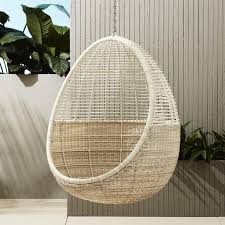 wicker pod hanging chair