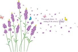 013large long stem lavender flowers with butterflies waiting for the arrival of love jpg long stem lavender br flowers with butterflies br removable wall