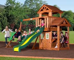 outdoor playset kids playground backyard slide wooden swing set