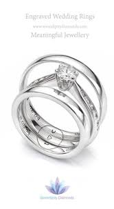 engagement ring engraving combination engraving across three rings featuring one design