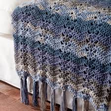 caron big cakes ocean waves crochet blanket in nightberry