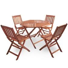 Tesco Dining Table And Chairs Buy Vonhaus 5 Piece Outdoor Wooden Dining Set U2013 Octagonal Table