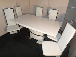 White Gloss Dining Table And Chairs Komoro White High Gloss Dining Table With 6 Celeste White Chairs