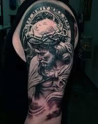 Religious Sleeve Tattoos Ideas Mens Upper Arms Detailed Religious Tattoo Mio Pinterest