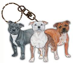 staffordshire bull terrier wooden breed keychain key ring