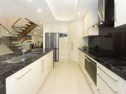 ideas for small galley kitchens modern galley kitchen design using marble bitdigest design