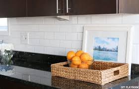 kitchen with subway tile backsplash white subway tile backsplash for the kitchen diy playbook