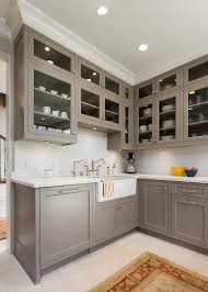 10 Beautiful Kitchens With Glass Cabinets Kitchen Countertop Ideas White Ice Granite Countertop Apron Sink