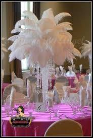 Wedding Feathers Centerpieces by Ostrich Feather Pedestal Arrangements On Black Pedestal Stands