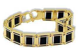 gold onyx bracelet images Mens 14k solid yellow gold black onyx fashion bracelet jpg