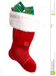 bright red christmas stocking with presents stock photos image