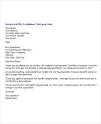 best ideas of thank you letter accepting job offer sample in