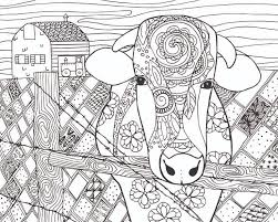 free cow animal coloring page for adults free coloring pages for