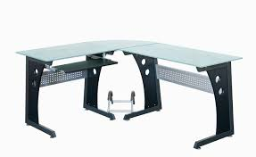 Glass Topped Computer Desk Techni Mobili Deluxe L Shaped Computer Desk With Pull Out