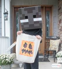 Minecraft Halloween Costume Diy Pumpkin Treat Bag U0026 Minecraft Halloween Costume Ideas Atta