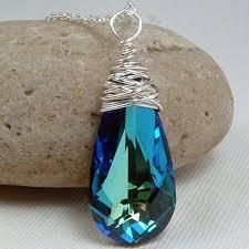 blue crystal necklace images Bermuda blue drop swarovski necklace hazari creations jpg