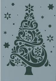 christmas tree u0026 stars mylar reuseable stencil a5 image approx