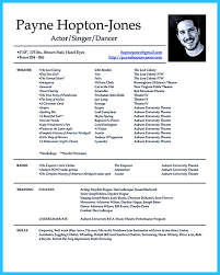 Beginner Resume Template Actress Resume Template Resume For Your Job Application