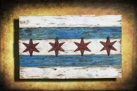 chicago home decor handmade distressed wooden chicago flag vintage art distressed