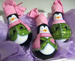 penguin light bulb ornaments totally green crafts