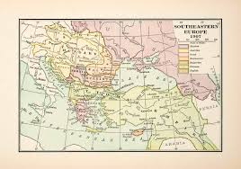 Ottoman Europe by 1921 Print Map Southeastern Europe Pre Great War Ottoman Empire