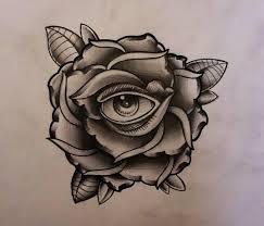 rose with eye tattoo design 2 by thirteen7s on deviantart