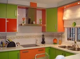 orange and green painted kitchens interior design