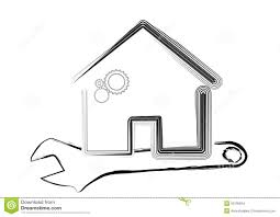 template of house under maintenance concept stock illustration