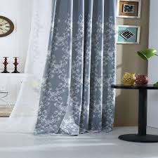 Blue Grey Curtains Curtains Gray Blue Floral Embroidered