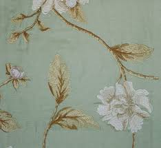 Embroidered Linen Curtains Longford Embroidered Linen Curtain Fabric Aqua Linen Embroidered