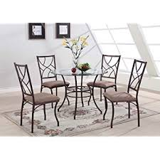 Amazoncom Kitchen Dinette Set Dining Room Furniture  Piece - Metal dining room tables
