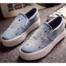 light blue womens dress shoes ripped rhinestone slip on women denim shoes blue