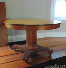 Oak Pedestal Table Antique Quarter Sawn Oak Pedestal Dining Table With Three Leaves