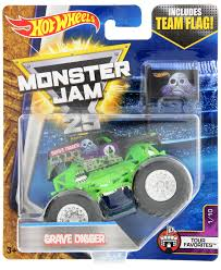 monster trucks grave digger crashes wheels monster jam 25 grave digger team flag toy at