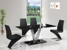 Black Gloss Dining Table And 6 Chairs Florini Black Glass V Dining Table Furniturebox Intended For Black