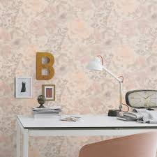Grey Feature Wall Rasch Florentine Chic Floral Wallpaper Grey Pink Natural Coral