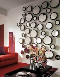 living room beautiful wall decor mounted several round mirror