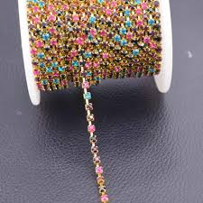 online get cheap rhinestone chain wholesale aliexpress wholesale 10yards ss12 sparse mixed color chain clothing rhinestone trims accessories for wedding dress chiristmas decorations