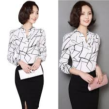 black and white blouse summer chiffon work wear button shirt office blouse