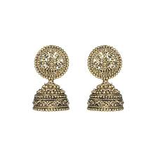 jhumka earrings buy golden metal oxidised jhumka earrings online