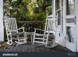 Rocking Chair Miami Two Old Rocking Chairs On Front Stock Photo 272299553 Shutterstock