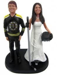 Hockey Cake Decorations Custom Hockey Player Bride Cake Topper W Interchangeable Groom