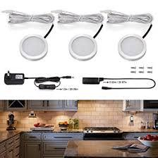 Led Kitchen Lights Under Cabinet S U0026g Set Of 3 Led Puck Lights 3000k Warm White Under Counter