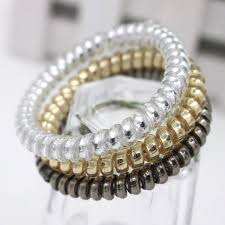 ponytail holder 10 pcs new arrival gold silver color elastic rubber telephone wire