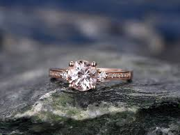 7mm diamond morganite engagement ring handmade solid 14k gold ring real