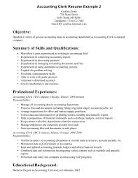 A Job Resume Example by Accounting Clerk Resume Berathen Com