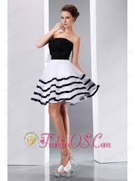 sweet black and white junior prom dress a line strapless knee